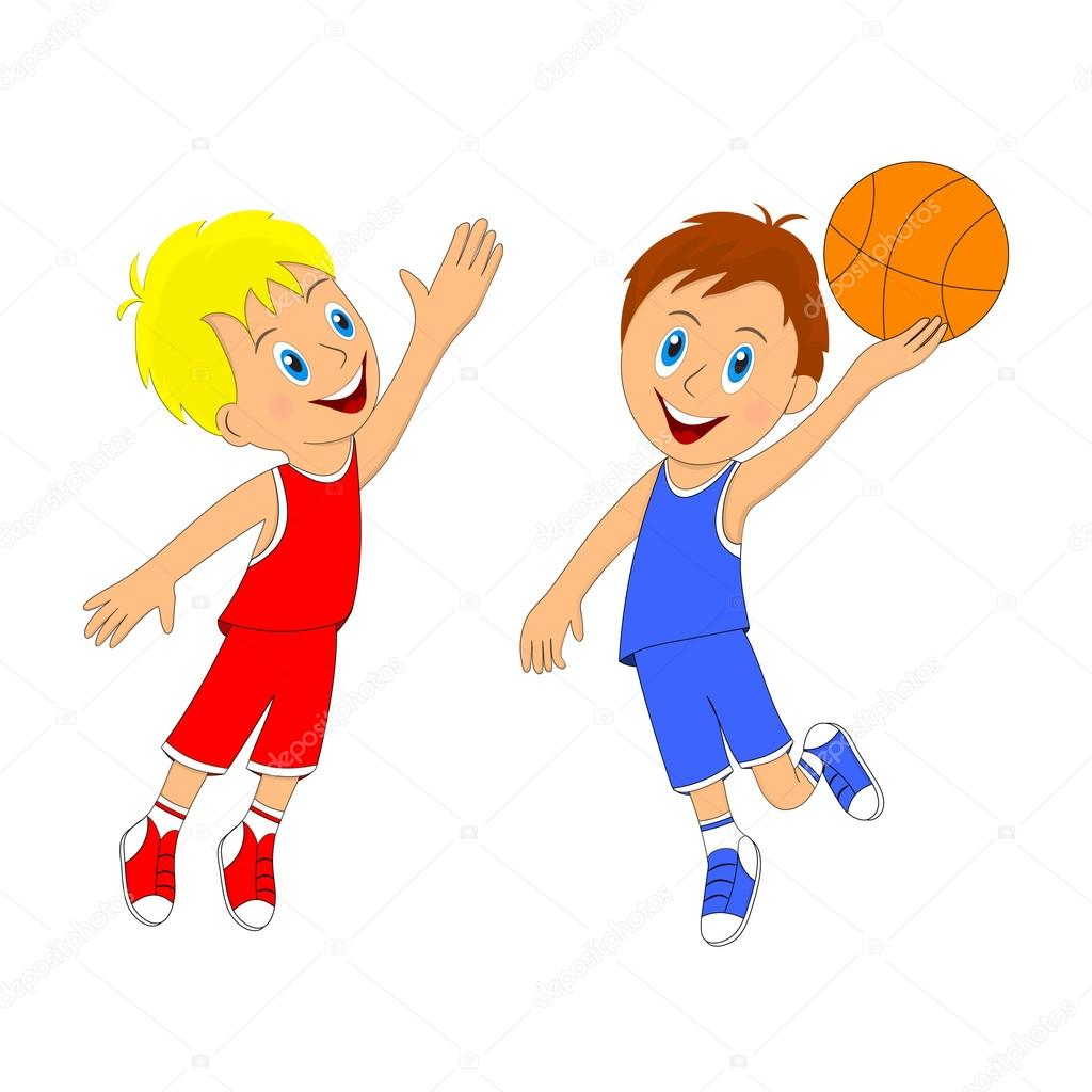 Two Kids Playing Basketball
