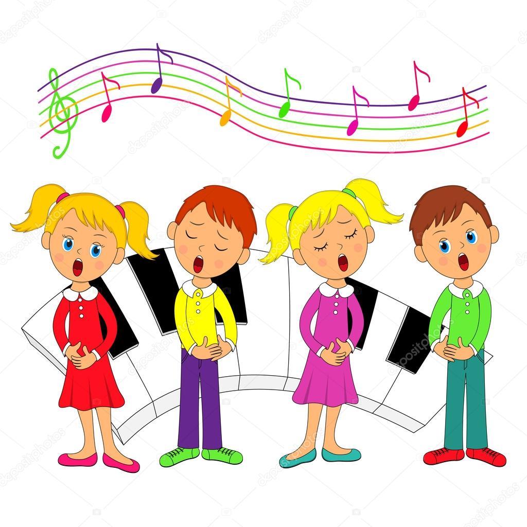 Bambini ragazzi e ragazze che cantano — vettoriali stock