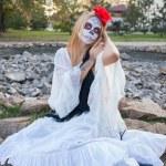 Girl Santa Muerte — Stock Photo #61411401