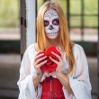 Portrait of a girl in the image of Santa Muerte — Stock Photo #61432491