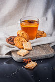 Breakfast with tea and biscuits — Stock Photo