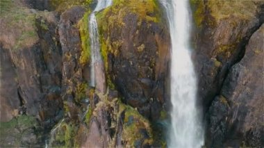 Incredible views of the waterfall Iceland — Stock Video