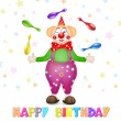 Happy birthday greetings. Cute happy birthday card with fun clowns — Stock Vector #52024877