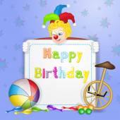 Saludos de cumpleaños feliz. tarjeta del feliz cumpleaños linda con divertidos payasos — Vector de stock