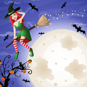 Halloween card with sexy red-haired witch flying over moon — Stock Vector