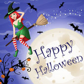 Halloween card with sexy red-haired witch flying over moon — Vector de stock