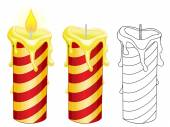Burning candles on white background — Stock Vector