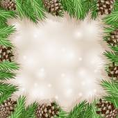 Pine cone with branch and snowflakes — Stock Vector