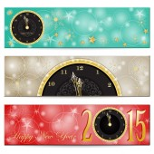 Happy New Year -gold clock and stars — Stockvektor