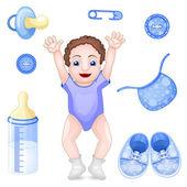 Set of design elements for baby shower — Stockvektor