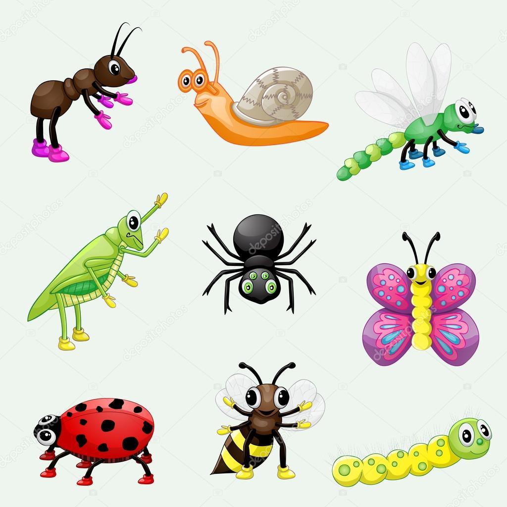 Insieme di insetti simpatico cartone animato — vettoriali