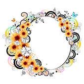 Cadre floral coloré — Vecteur