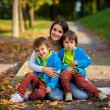 Mother with her two boys in the park — Stock Photo #56128515