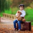 Little boy with suitcase and teddy bear — Stock Photo #56128683