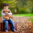 Little boy with suitcase and teddy bear — Stock Photo #56128829