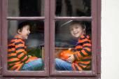 Two cute boys, sitting on a window with jack-o-lantern — Stock Photo