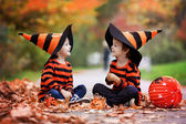 Two boys in the park with Halloween costumes — Stok fotoğraf