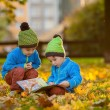 Two boys, reading a book on a lawn in the afternoon — Stock Photo #57101117