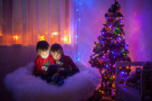 Two boys, playing on tablet at home, next to christmas tree — Stock Photo