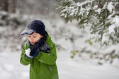 Adorable little boy, blowing snowflakes outside in a snowy day  — Stockfoto