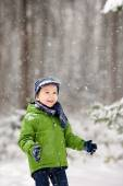 Adorable little boy, blowing snowflakes outside in a snowy day  — Stock Photo