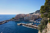 View of monaco port in Fontvielle from the village — Stock Photo