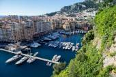 View of monaco port in Fontvielle from the village, daytime — Stock Photo