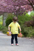 Young sweet boy, carrying two baskets with flower and eggs, walk — Stock Photo