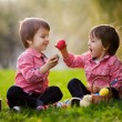 Two boys in the park, having fun with colored eggs for Easter — Stock Photo #65852607