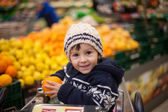 Liebenswert junge, sitzt in einem Warenkorb — Stockfoto