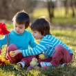 Two boys in the park, having fun with colored eggs for Easter — Stock Photo #66476873