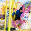 Adorable little boy, swinging on a pink rabbit — Stock Photo #67862681