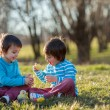 Two boys in the park, having fun with colored eggs for Easter — Stock Photo #69204433