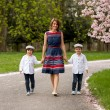 Beautiful portrait of mother and her two children in a cherry bl — Stock Photo #70902155