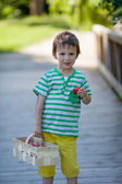 Cute little caucasian boy, eating strawberries in the park — Stock Photo