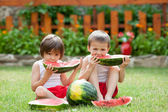 Two boys, eating watermelon in the garden, summertime — Stock Photo