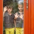 Two little boy, wearing same clothes looking through a big glass — Stock Photo #78874064