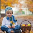 Cute little boy with basket of fruits in the park — Stock Photo #80111380
