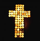Crucifix made of Candles — Stock Photo