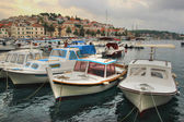 Harbouring Boats in Historical City Hvar — Stockfoto