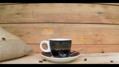 Coffee Cup with Falling Coffee Beans — Stock Video