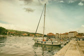 Boats Harbouring in Old Coastal City — Stock Photo