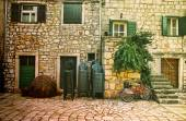 In front of Typical Mediterranean House — Stock Photo