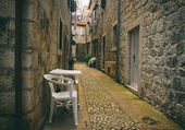 Old Romantic Street with Plastic Chairs — Stock Photo