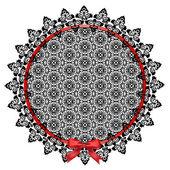 Black lace doily — Stock Vector