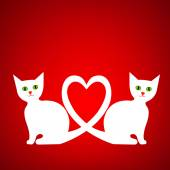 Valentine card with kittens — Vetor de Stock
