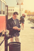 Couple outside retro train coach have a romantic encounter  — Stock Photo