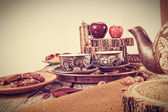 Retro kitchen table in nostalgic still life style — Stock Photo