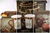 Vintage composition of tea or coffee cups on wooden table — Stock Photo