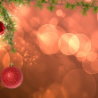 Christmas red balls with green fir tree on pink red bokeh backgr — Stock Photo #61152727